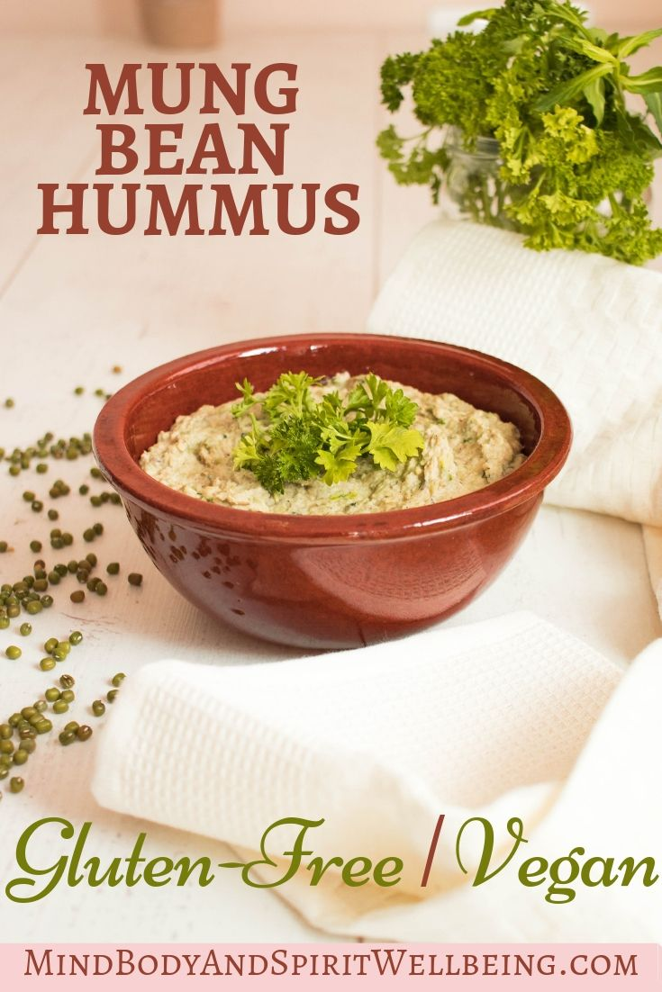 Mung bean hummus, This is one of the most delicious vegan recipes you will ever try! It is also gluten free which makes it suitable for people with celiac disease, gluten intolerance, and those following a strict vegan diet plan. This hummus recipe is excellent for direct consumption, as a side dish, a vegan spread for toast, a gluten free dip and an appetizer or as a protein packed breakfast! #veganrecipes #veganglutefree #glutenfree #glutenfreerecipes